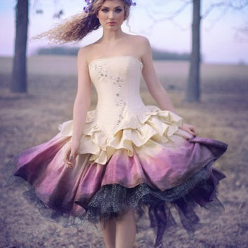 Ombre Wedding Dress - Steampunk Fairytale Gown - Moon Fairy Goddess in Silk and Crystals -Custom to your size