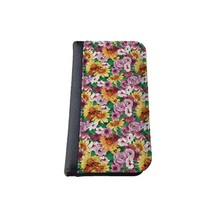Floral iPhone 5C wallet case MADE IN USA - different designs flip case (Flowerbed)