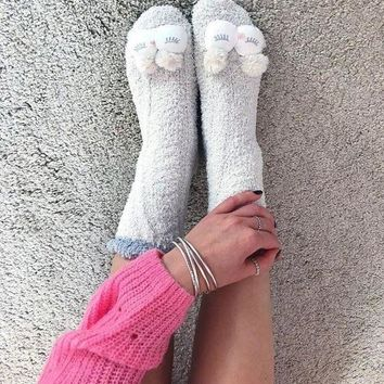 DCCKBA7 Oysho Lovable Owl Warm floor socks Medium tube socks