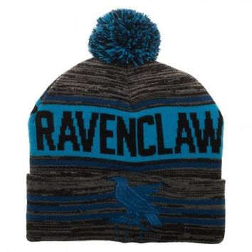 Harry Potter Black & Blue Rolled Pom Beanie