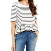Copper Key Striped Bar Back Ruffle Tee | Dillards