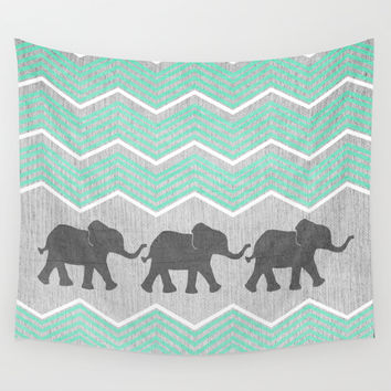 Three Elephants - Teal and White Chevron on Grey Wall Tapestry by Tangerine-Tane