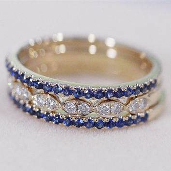 3 Rings Set VS Natural Blue Sapphire Ring with Half Eternity Diamond Wedding Band Set 14K Yellow Gold Diamond Engagement Ring Wedding Ring