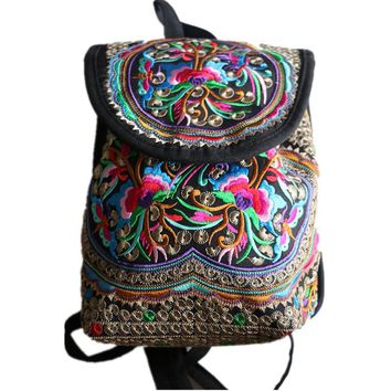 Chinese Yunnan traditional ethnic style women vintage backpack girls' flower embroidered fashion cute bag for saunter