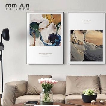 Nordic Abstract Painting Space Watercolor Splash wall Art Picture Poster Mural Canvas paintings bedroom Living Room Home Decor