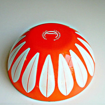 Cathrineholm Lotus Bowl 5 1/2 Inch Orange Enamel Mid Century Scandinavian Decor Signed