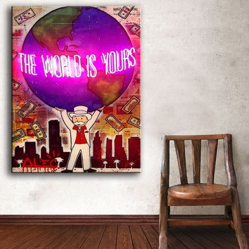 Cuadros Fallout Huge Fashion the world is your's Alec Graffiti arts print On Canvas Dream Wall Picture For Living Room Painting