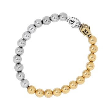 Gold and Silver Buddha Bead Stretch Bracelet