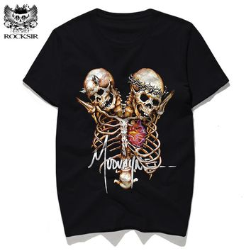 Skull t shirt men black tops Cotton casual tshirt