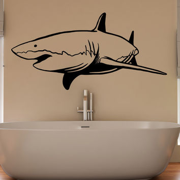 Vinyl Wall Decal Sticker Swimming Shark #OS_MB953