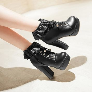 YMECHIC Cute Lace Ruffles Lolita Ladies Shoes Autumn Lace Up Block High Heel Platform Punk Motorcycle Ankle Boots Women Big Size