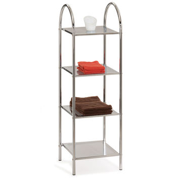 Chrome Arched Top, Four Shelf Stand
