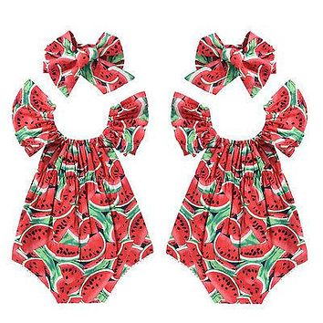 2Pcs Watermelon Clothes Romper Newborn Baby Girls Clothes Ruffles Romper Jumpsuit Outfits Playsuit