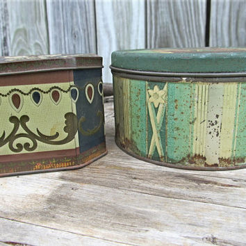 Two Green Blue Brown Rustic Tin Metal Storage Box Canister Sewing Kit Shabby Chic Cottage Garden Made in England New York Paris Tins