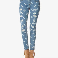 Bow Print Destroyed Skinny Jeans