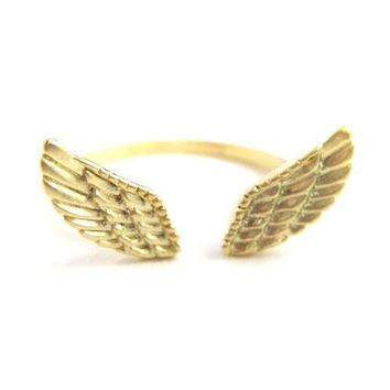 Angel Wings Adjustable Ring with Feather Detail in Gold | DOTOLY