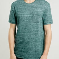 GREEN TEXTURE POCKET T-SHIRT