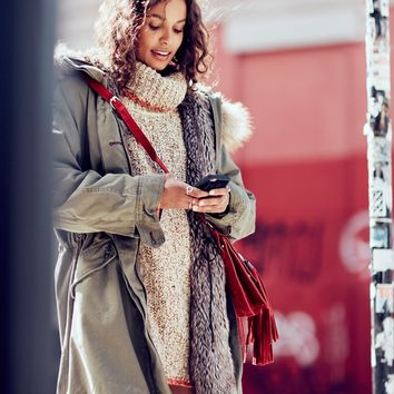 Free People Fur Lined Military Parka