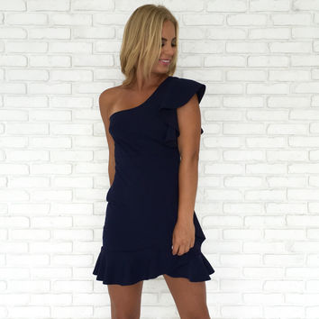 Mermaid One Shoulder Dress In Navy Blue