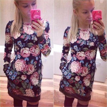 Navy Blue Floral Long Sleeve Mini Bodycon Dress