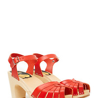 DailyLook: Swedish Hasbeens Fredrica Platform Clogs in Red 6 - 8.5