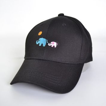 Cute Elephant Embroidery Cotton Baseball Cap Hat- Black