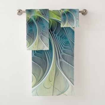 Flourish Fantasy Modern Blue Green Fractal Flower Bath Towel Set