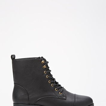 Lace-Up Faux Leather Boots (Wide)