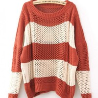 Color Block Loose Orange Sweater$40.00
