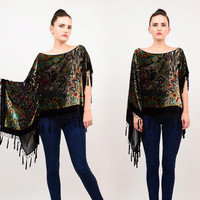 90s Sheer Silk Burnout Velvet Draped Shawl Floral Art Nouveau Top Beaded Fringe Party Cocktail Blouse Medium Large M L