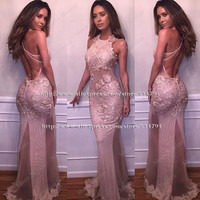 Robe de soiree Sexy Backless Halter Mermaid Prom Dresses 2017 New Arrival Vestido de festa Long Pink Lace Evening Gown