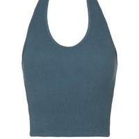 Ribbed Halterneck Crop Top - Petrol