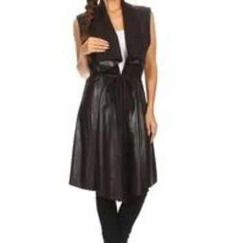 faux leather and suede relaxed fit long vest