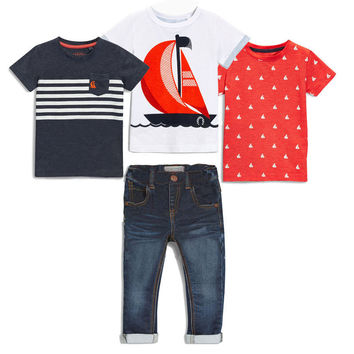 Children's clothing sets Summer Baby boy suit white boat t-shirts+red t-shirts+Boat print t-shirt+jeans kids 4pcs suit set