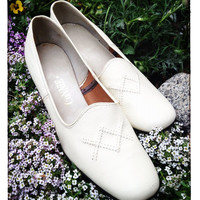 Vintage, Like New, Connie Shoes, White Leather Dress Shoes