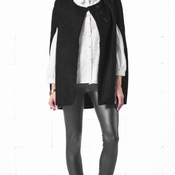 Indie XO Take Me On Black Batwing Cape Wool Poncho Jacket Winter Warm Cloak Coat - Just Ours!
