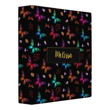 Elegant Colorful Butterflies Pattern on Black 3 Ring Binder