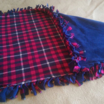 Baby Girl Blanket Tied Fleece Throw 53 inches by 31 Dark Pink and Blue Plaid off set with Dark Blue