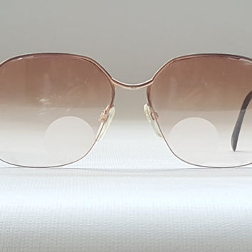 LUXOTTICA Semi Rimless Oversized Drop Arm Glasses • Vintage 60s 70s Metal Women's Sunglasses Eyeglass Frames