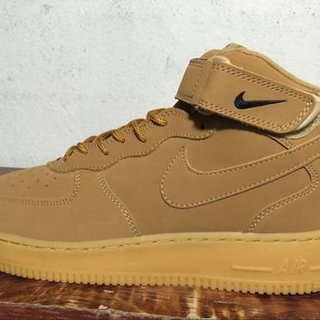 LMFON Nike Air Force 1 Mid Olive Yellow For Women Men Running Sport Casual Shoes Sneakers