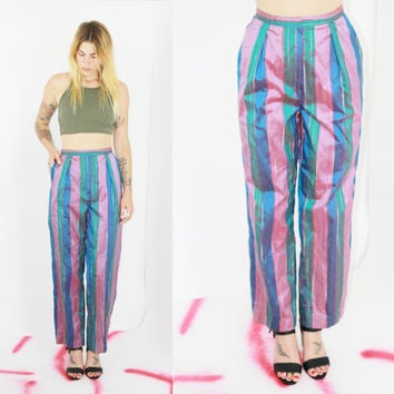 vtg 90s pants striped satin high waisted trousers fabric harem pants lined boho bohemian pockets ankle festival med medium lrg large