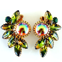 Green Rainbow Carnival Glass Earrings Vintage Flash Jewelry Rare High Fashion Collectable Earrings Possible Juliana Summer Spring