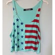 Patriot Mint USA Flag Crop Tank Top