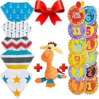 Best Baby Bib Set by NinoStar Complete Pack of 5 Bandana Drool Bibs ,1 Stuffed Giraffe Plush Toy 12 Monthly Milestone Stickers Infant Snap-on Drooling Towels Perfect Baby Shower Gift for Boys or Girls