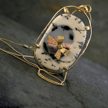 One OF A kind Black And White Agate Gold Necklace with Gold Papillon,Agate Slice Necklace, Boho Gold  Jewelry