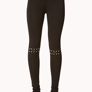 FOREVER 21 Studded Split Knee Leggings Black/Gold
