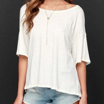 White Slit Round Neck Elbow Sleeve Fashion Loose T-Shirt