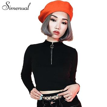 Simenual Zipper turtleneck crop top female t-shirt fashion fitness slim sexy black tops women's t-shirts long sleeve tee shirt