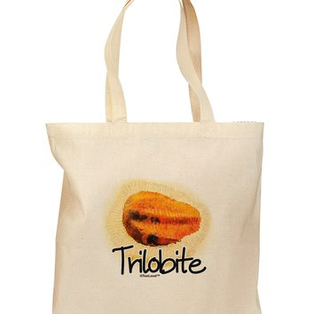Trilobite Fossil Watercolor Text Grocery Tote Bag