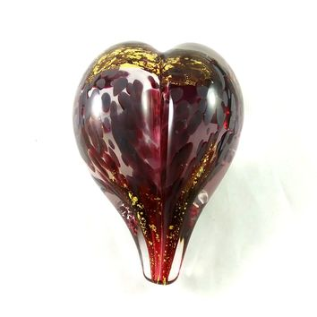 Handmade Art Glass Heart Paperweight, Ruby Red and Pure Gold, Mother's Day Gift